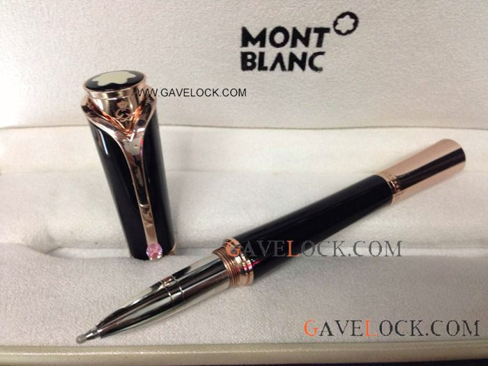 Montblanc Princess Monaco Replica Black & Rose Gold Rollerball Pen